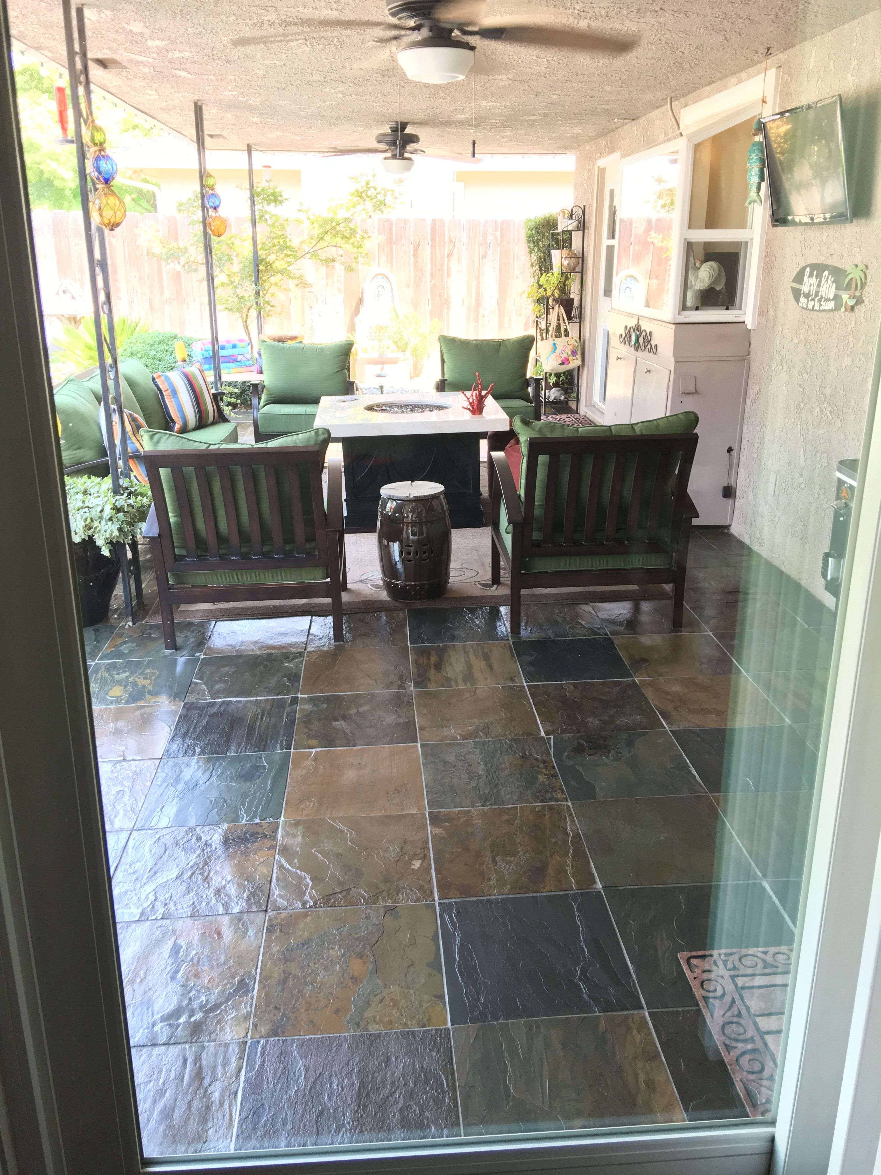 Slate Patio Sealed With Glaze Seal Wet Look Lacquer Slate Patio Outdoor Spaces Outdoor Decor