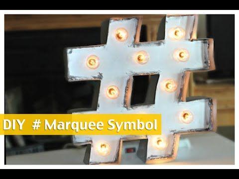 DIY Hashtag Marquee Symbol | ShowMeCute - YouTube