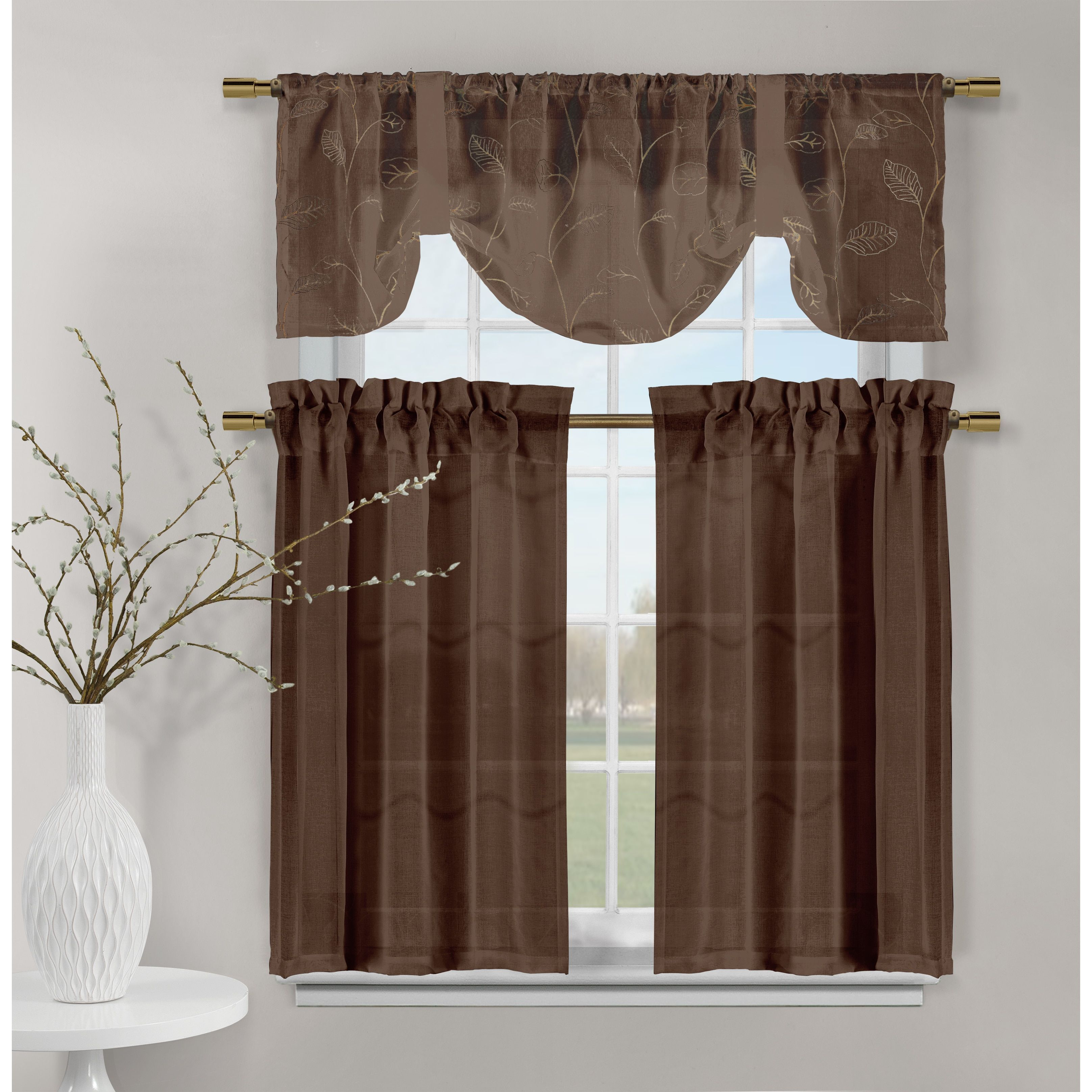 Duck river videira leaf embossed kitchen curtain red