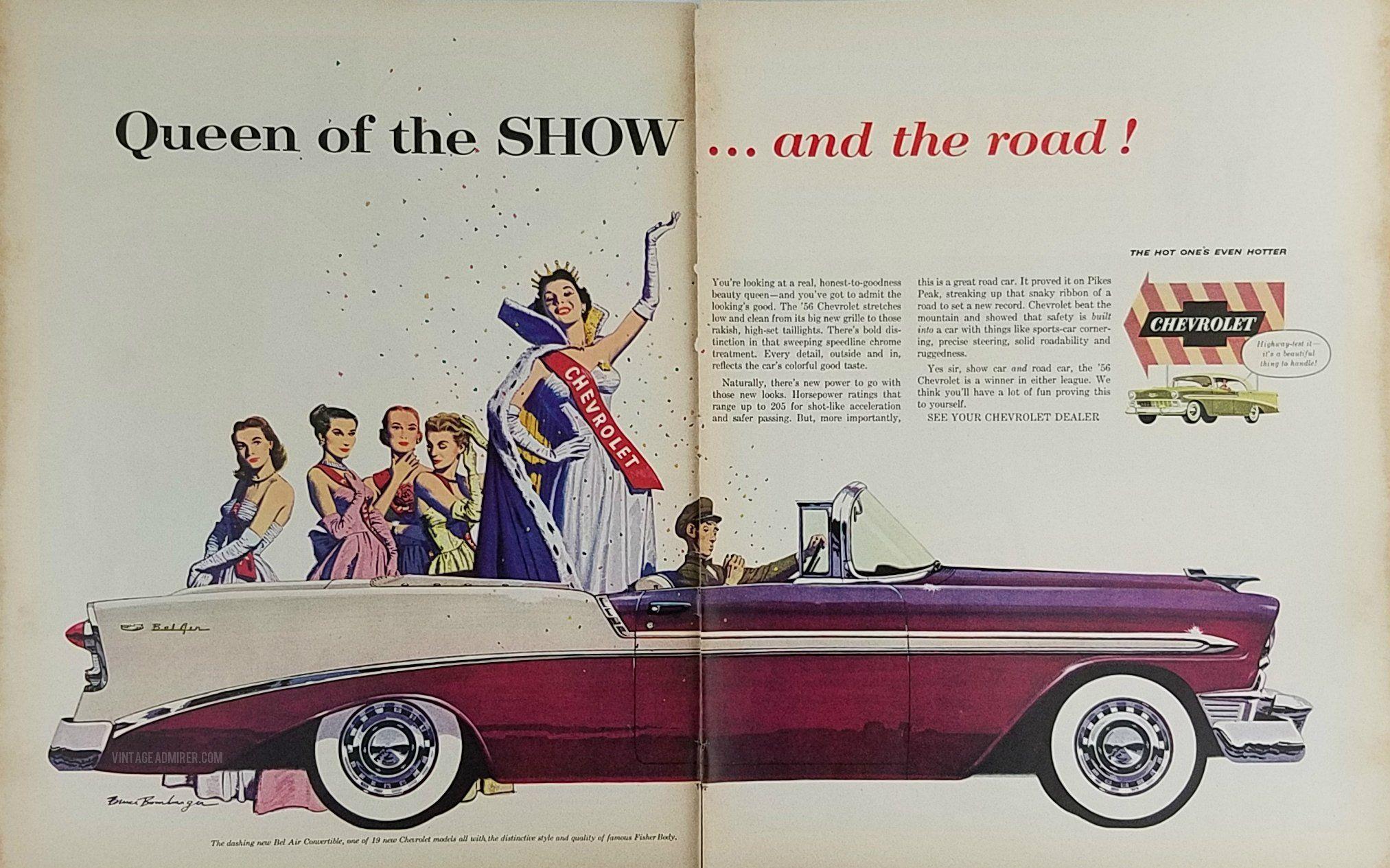 1956 Chevrolet Bel Air Convertible Vintage Ad Bruce Bomberger Art
