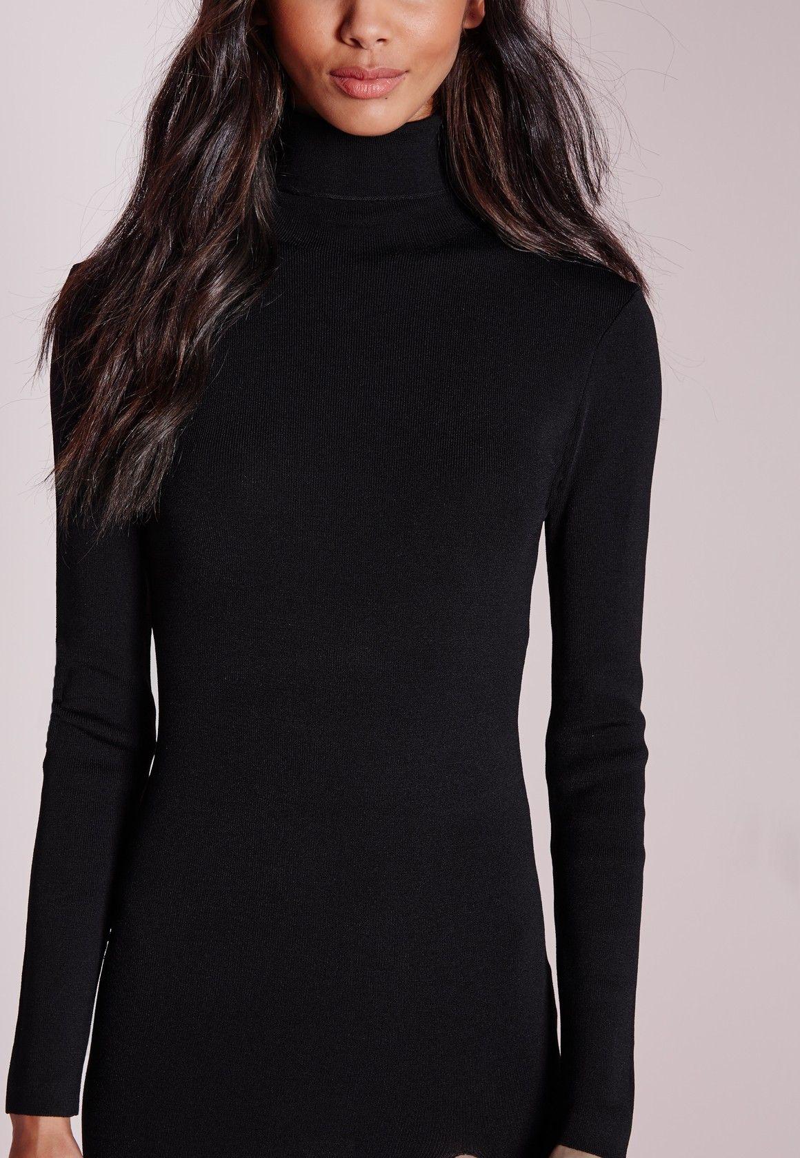 Missguided polo neck high split midi dress black black