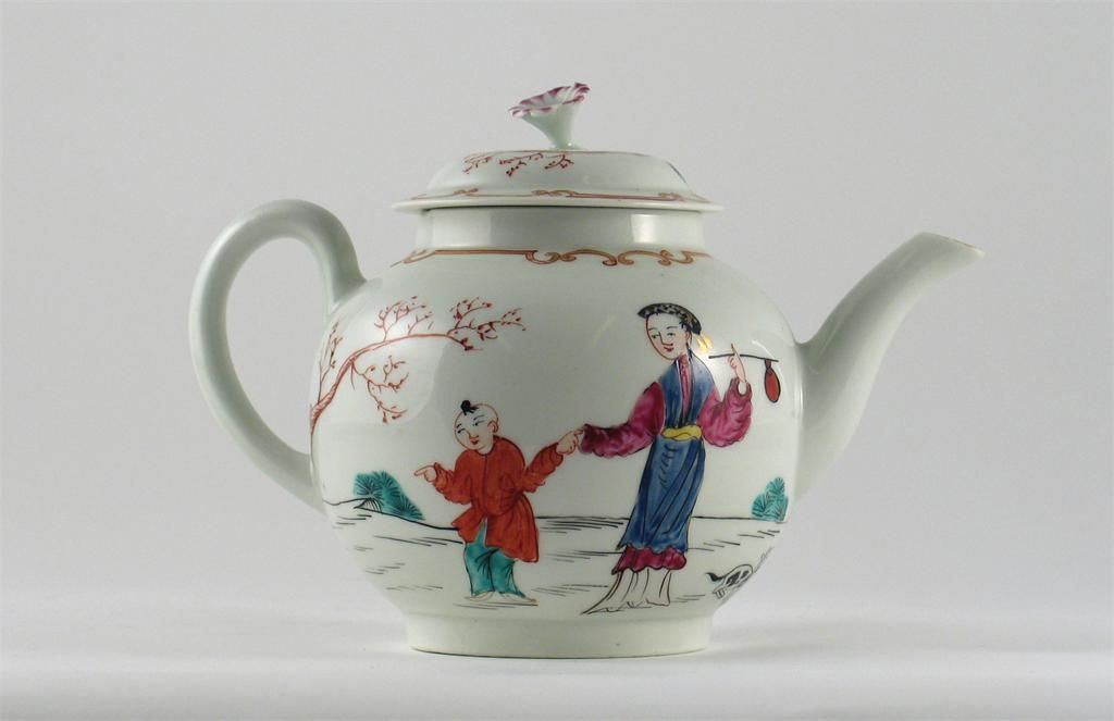 1770 A Worcester teapot and cover, painted in polychrome enamels, with four Chinese figures and a cat, applied flower finial, unmarked, c.1770, 18cm. (2) Woolley and Wallis - Salisbury Salerooms lot490