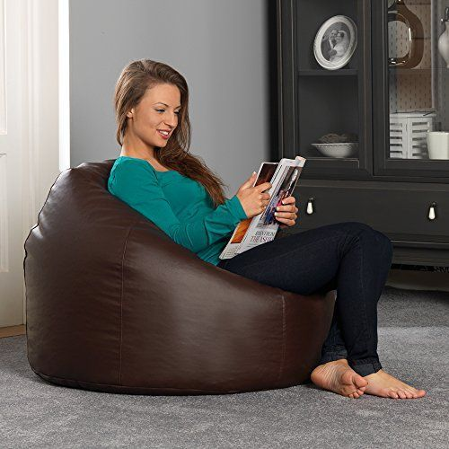 Elegant Bean Bag Bazaar Luxury Faux Leather Panelled XL Bean Bag Chair BROWN Extra - big bean bags for adults Idea
