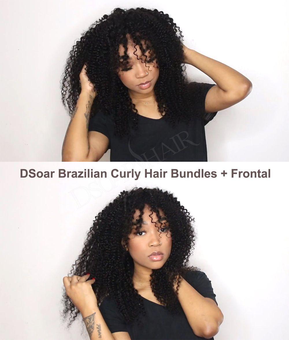 Sweet girl with DSoar Hair Brazilian Curly Virgin Hairdo you like