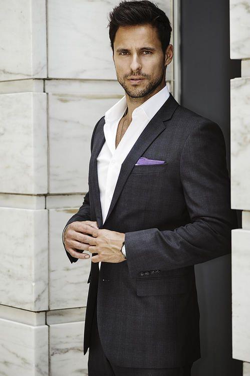 Men's Charcoal Plaid Suit, White Dress Shirt, Light Violet Cotton ...