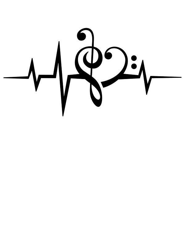 Music Heart Pulse Love Music Bass Clef Treble Clef Classic