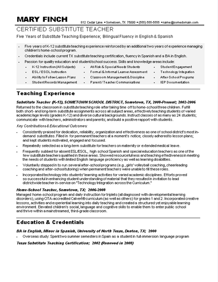 Sample Teacher Resumes  Substitute Teacher Resume Sample