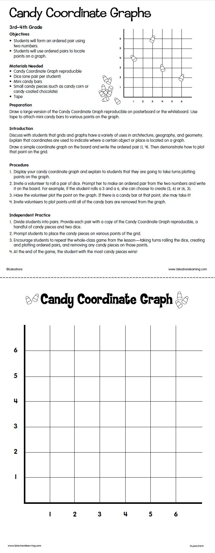 Candy Coordinate Graphs Lesson Plan from Lakeshore Learning: Students form ordered  pairs and then …   Coordinate graphing [ 1833 x 712 Pixel ]