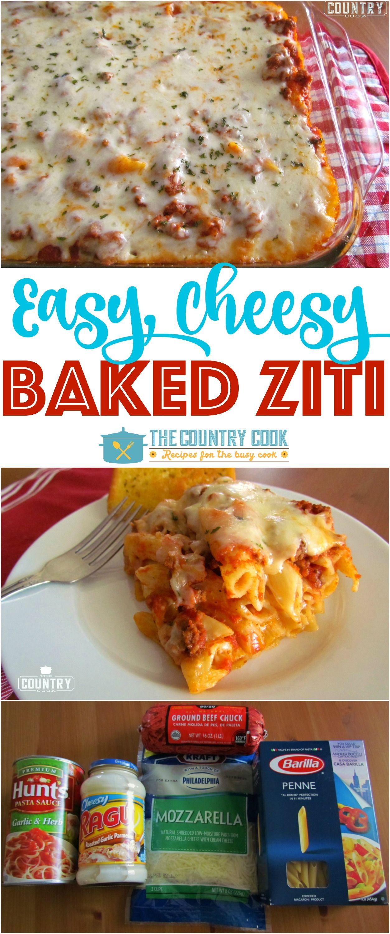 The Best Easy Baked Ziti Casserole Video The Country Cook Recipe Recipes Food Easy Baked Ziti