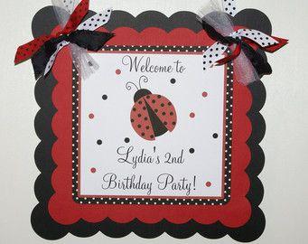 Ladybug Birthday Welcome Door Sign, Ladybug Welcome Sign, Ladybug Door Sign, Ladybug Party Supplies, Red, Black & White - (LADY-1)
