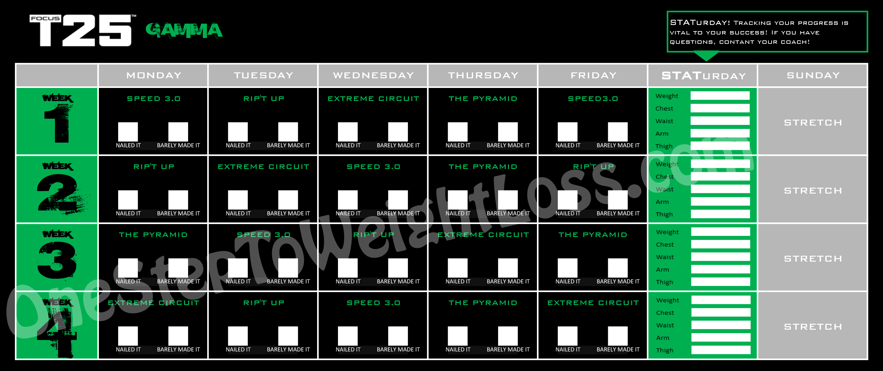 Focus T25 workout schedule gamma phase phase 3