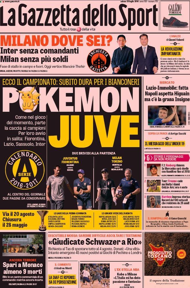 Prima pagina La Gazzetta dello Sport Sport, Copertina