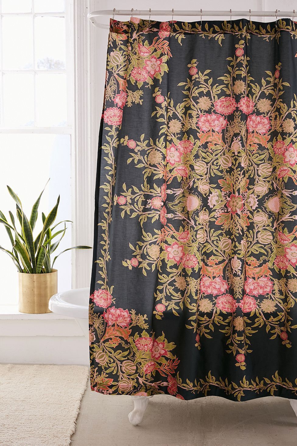 Urban Outfitters Analise Floral Medallion Shower Curtain Black