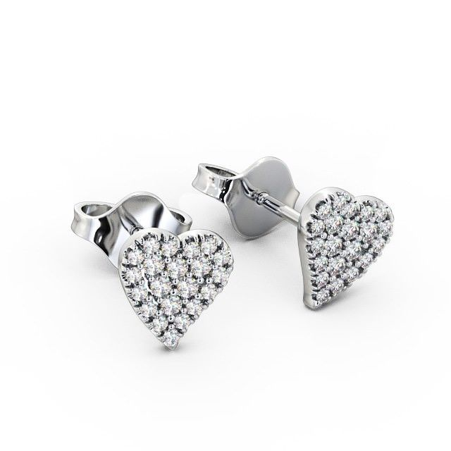 0 30 Ct Heart Shape Round Diamond Pave Set Cer Earrings In 14k White Gold Diamonds And Shapes