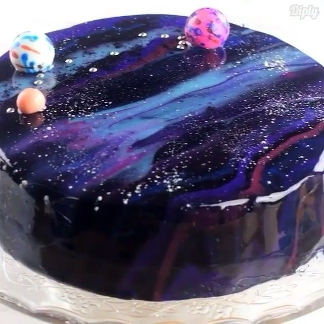 Now You Get To Learn How Make It Mirror Glaze Galaxy Cake Credits Diplydelicious