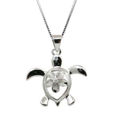 Sterling silver turtle honu with plumeria necklace pendant with box sterling silver turtle honu with plumeria necklace pendant with box chain honolulu jewelry company 2799 aloadofball Gallery