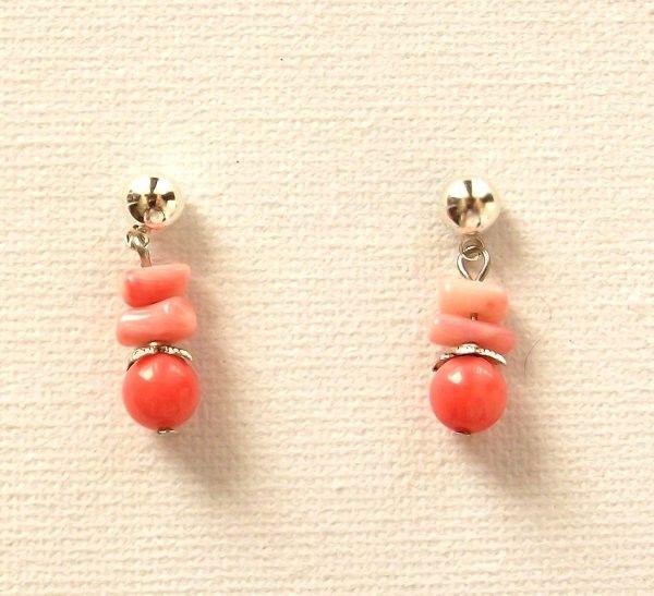 Pink Coral Stud Earrings