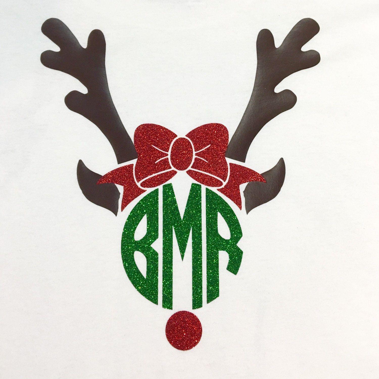 Preppy Reindeer Monogram Shirt by BurlapandLaceSC1 on Etsy