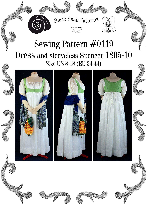 empire kleid mit ärmellosem spencer 1805 bis 1810