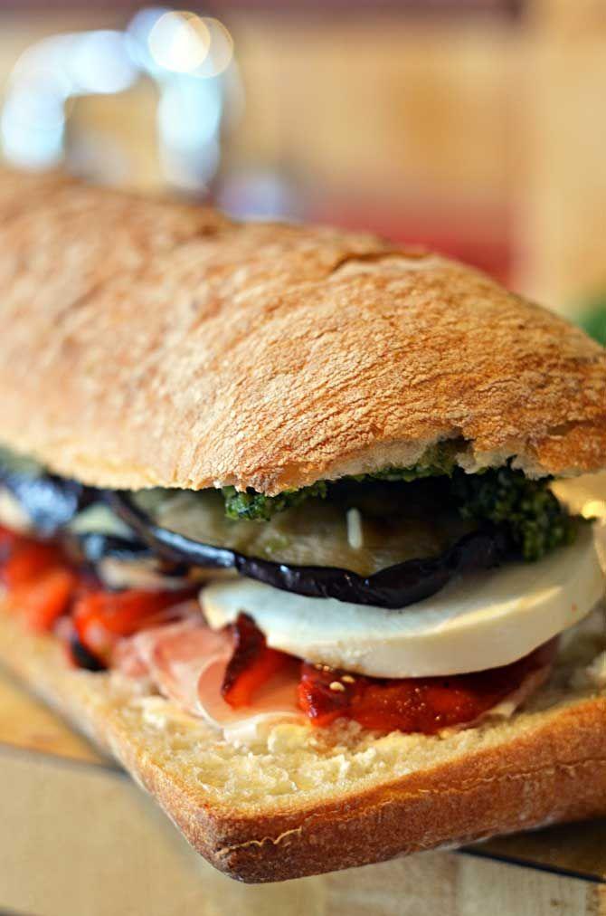 Eggplant, Prosciutto, and Pesto Pressed Picnic Sandwiches. bread!