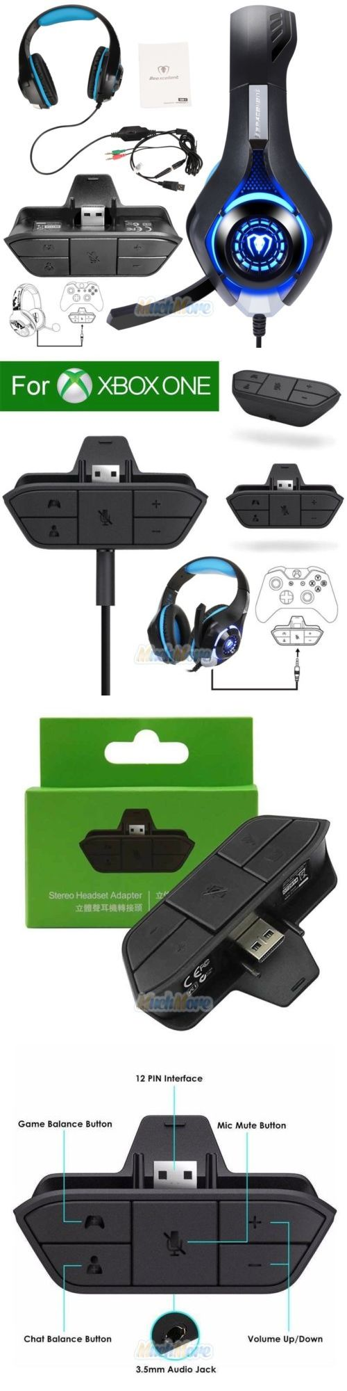 Cables and Adapters 171814: Audio Game Headset Headphone