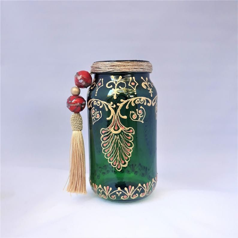 Bohemian Leaf Glass Lantern Boho Chic Candle Holder Green Etsy Mason Jar Candle Holders Mason Jar Decorations Candle Holders