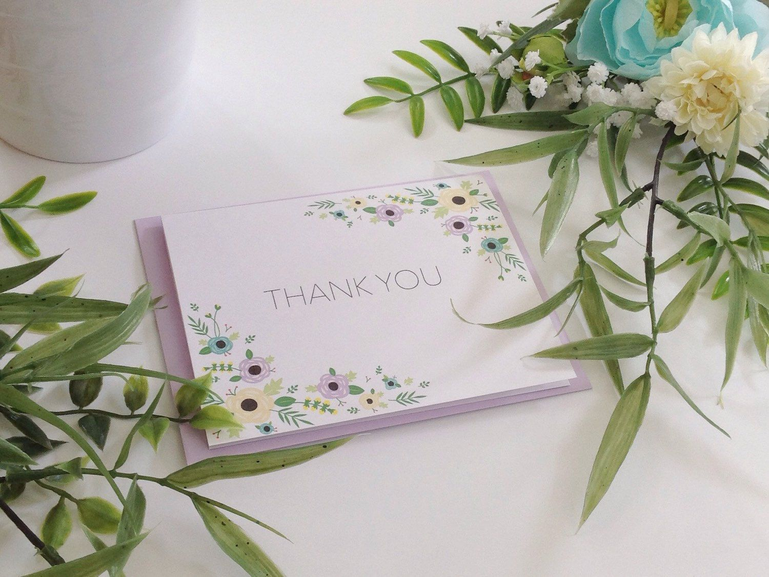 """5-pack/10-pack, """"Thank You"""" Cards & Lavender Envelopes, Two-Corner Floral Border by LittleOakCardCo on Etsy https://www.etsy.com/listing/261369310/5-pack10-pack-thank-you-cards-lavender"""