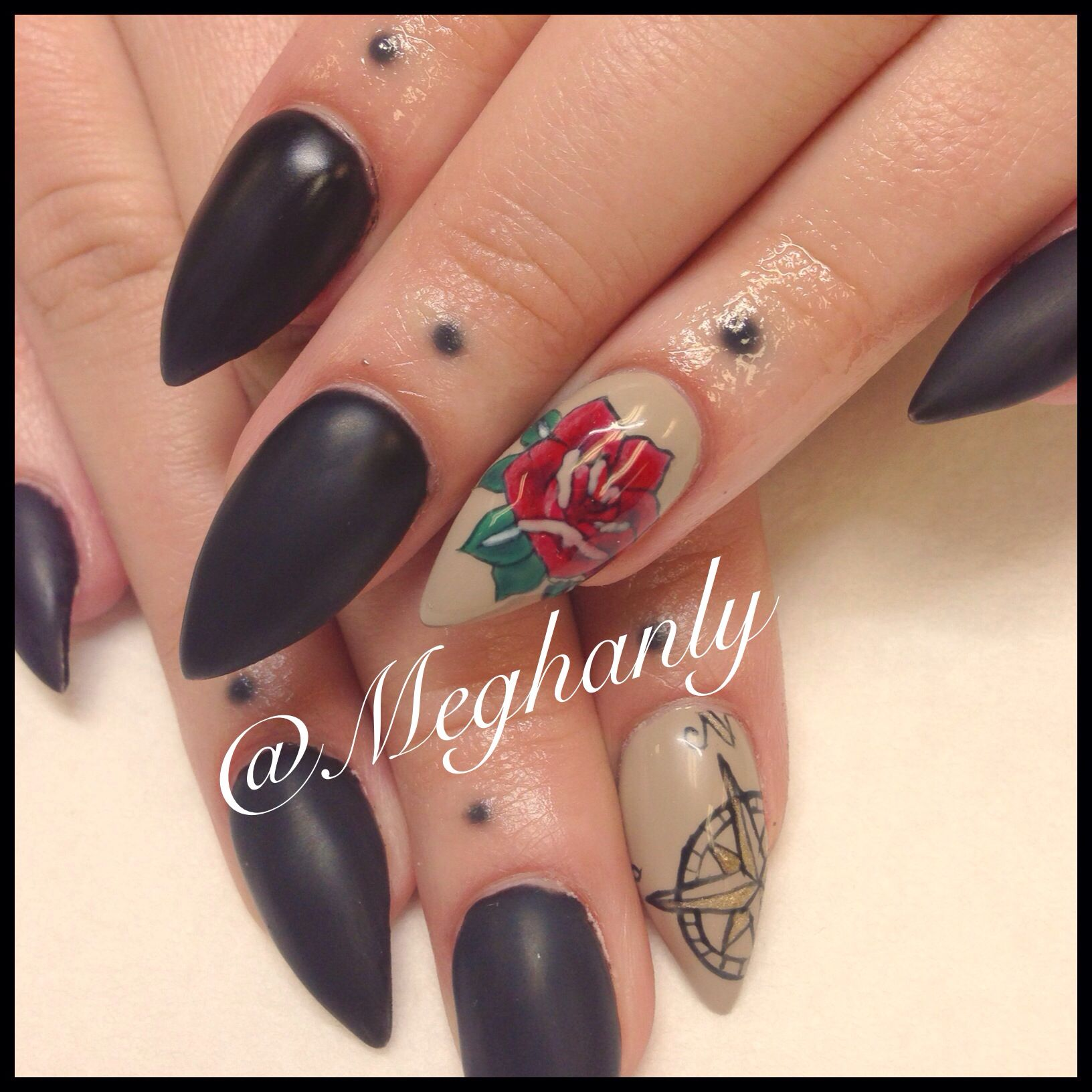 Tattoo inspired nails. Nail art. Roses, matte black. Compass ...
