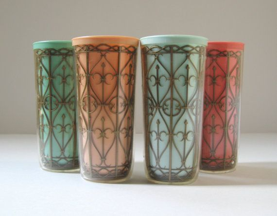 Retro Drinking Glasses Vintage Melmac