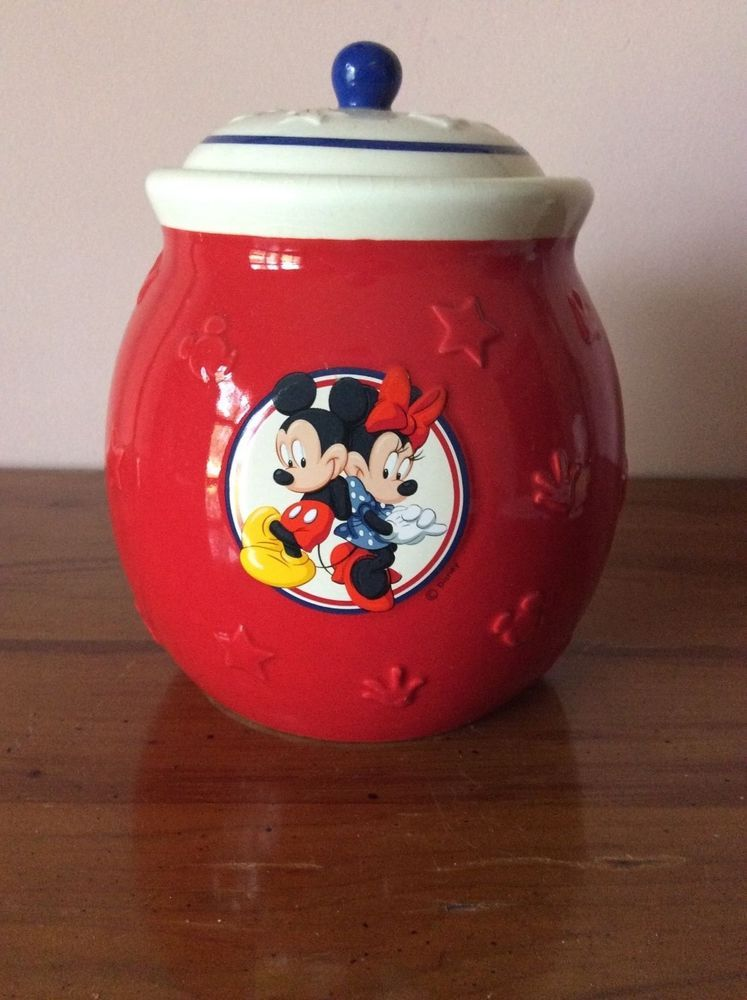 Mickey And Minnie Mouse Disney Red White Cookie Jar Canister W Lid Textured