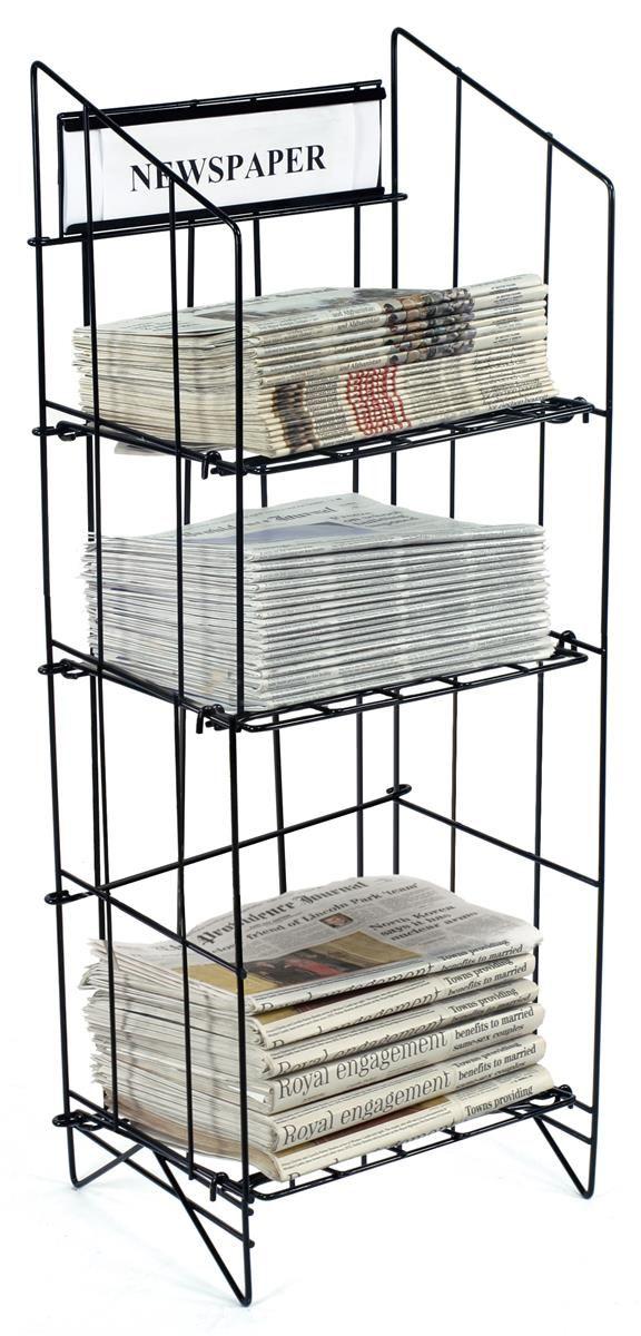 3 Tiered Wire Newspaper Rack For Floor With Separate Header Black Wire Storage Racks Rack Display Shelves