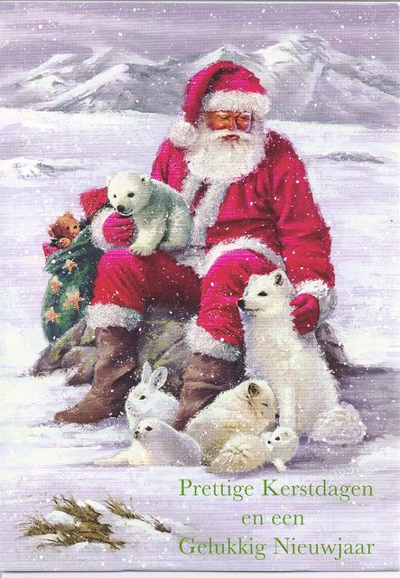 merry christmas happy new year santa animals by mailbox happiness angee at postcrossing via