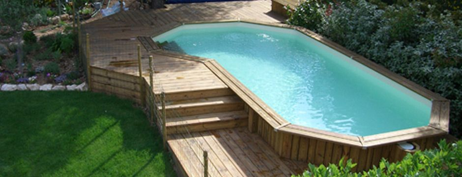 Piscine bois hors sol et semi enterr e piscine for Piscine semi enterree bois hexagonale