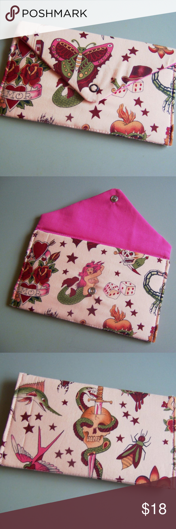 """adorable pink tattoo wallet Clutch Purse adorable pink tattoo wallet Clutch Purse    this handmade wallet is so cute! the tattoo pattern theme reminds me of Sailor Jim or Ed Hardy type of tattoos. there are tons of images, butterflies, mermaids, dice, amor hearts, skull, snake & sword, flies, swallows, swordfish, and stars! fabric is pink. Measures approx. 8"""" wide x 5"""" tall Nice stiff wallet with snap closure Coordinating cotton fabric on inside and outside. Bags Wallets"""