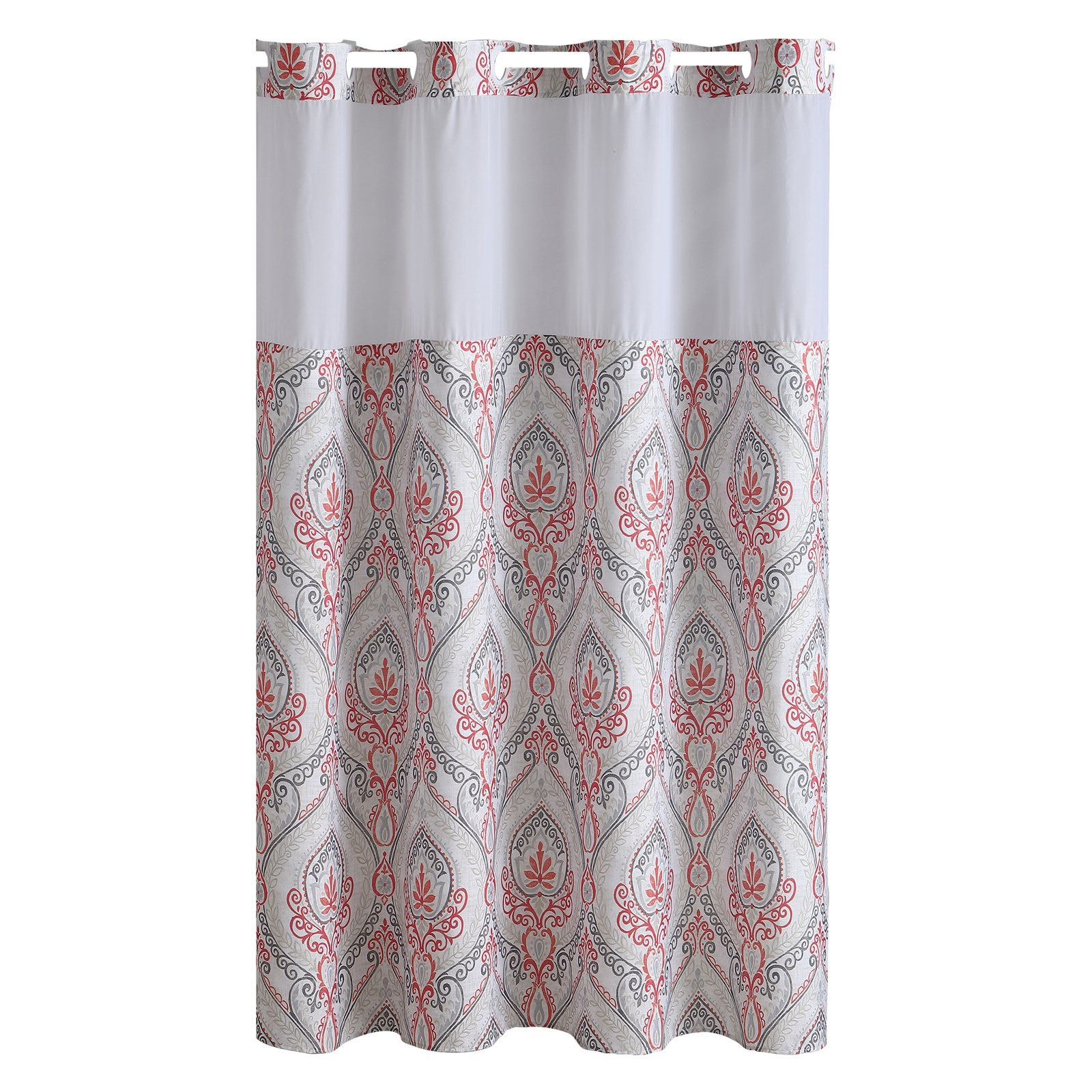 Hookless French Damask Print Polyester Shower Curtain Printed Shower Curtain Pretty Shower Curtains Gray Bathroom Accessories