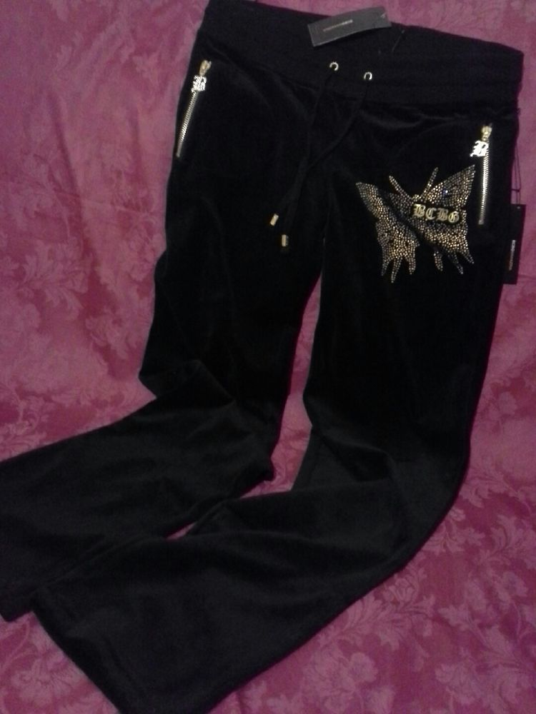 8afd93c06 BCBG MAXAZRIA Velour Tracksuit Pants Only Sz M Rhinestone BUTTERFLY ...