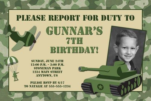 Camouflage Custom Photo Birthday Invitation Army Military Design – Army Birthday Cards