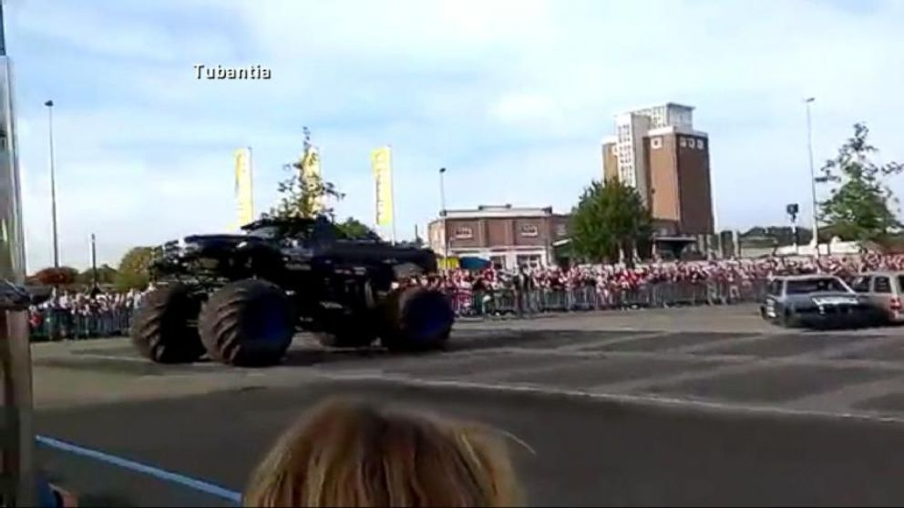The monster truck crashed into spectators during a show at a small town fair in the Netherlands.