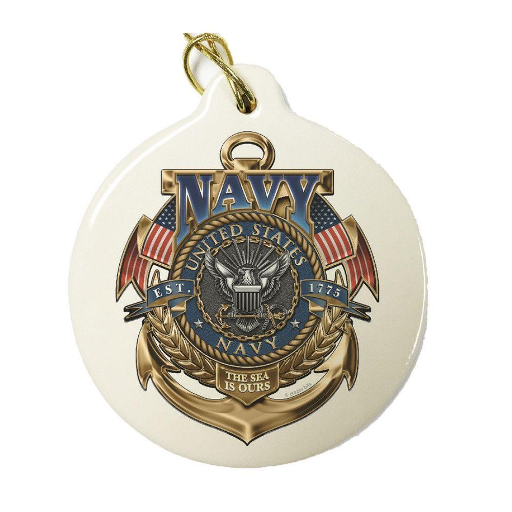 Navy Badge Christmas Ornament   Porcelain ornaments, Navy ...