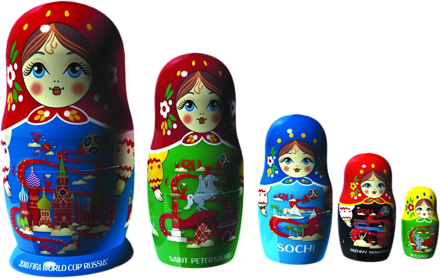 Soccer World Cup 2018 Russian Stacking Nesting Dolls Matryoshka set 5 Pcs