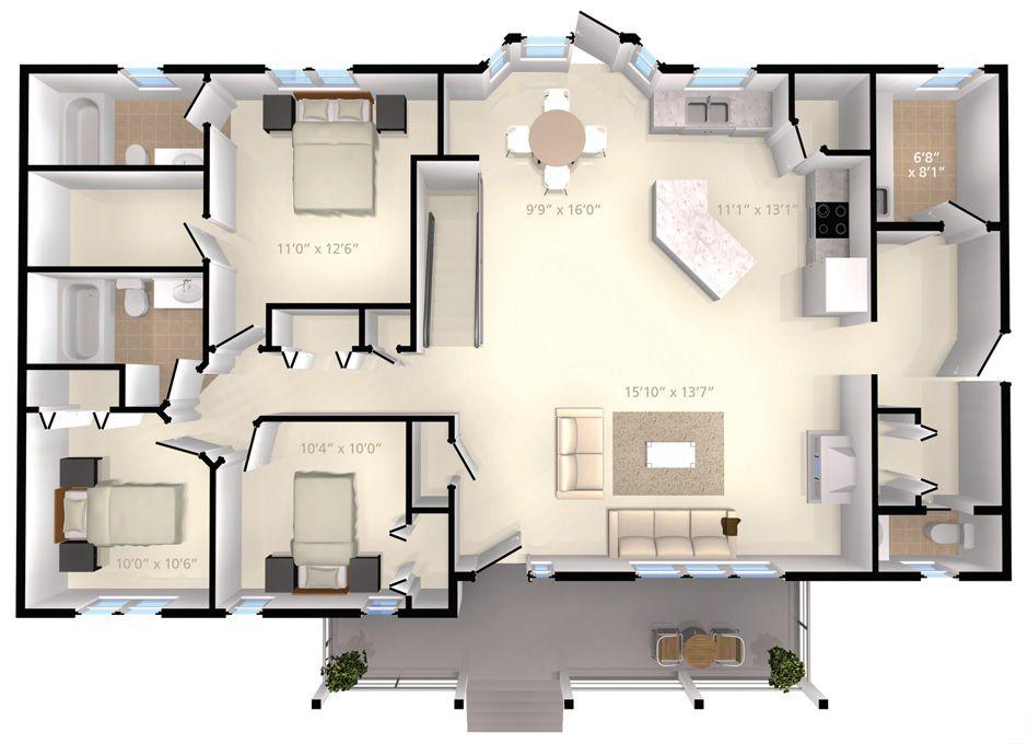 Opal 1574 Sq Ft Home Inc House Floor Plans House Plans