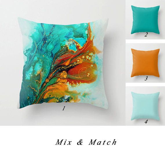 Latest Abstract Pillow Cover Turquoise Teal Orange Lumbar Pillow Solid Pillows Decorative Throw Pillow Mix Match Pillows Toss Pillow Cushion Cover Awesome - Minimalist throw pillows for sofa Beautiful