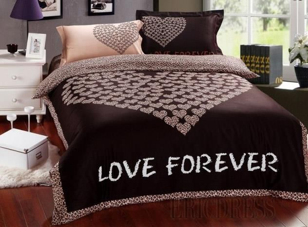 Love Forever Chocolate Heart 100 Cotton Bedding Sets Beautiful Bedding Sets Queen Bedding Sets Bed Comforter Sets