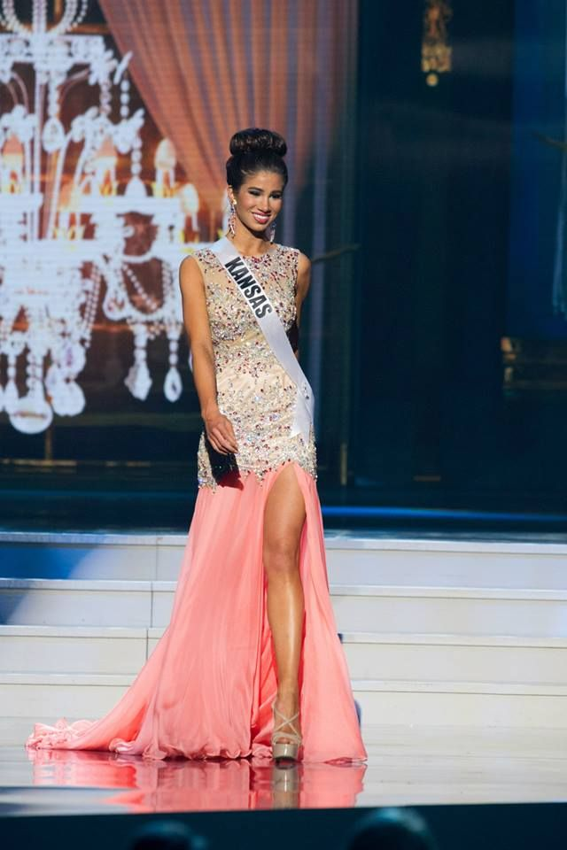 Miss Kansas USA Wearing a Custom Blush Pink Mac Duggal Evening Gown at Miss USA 2014 Prelims.
