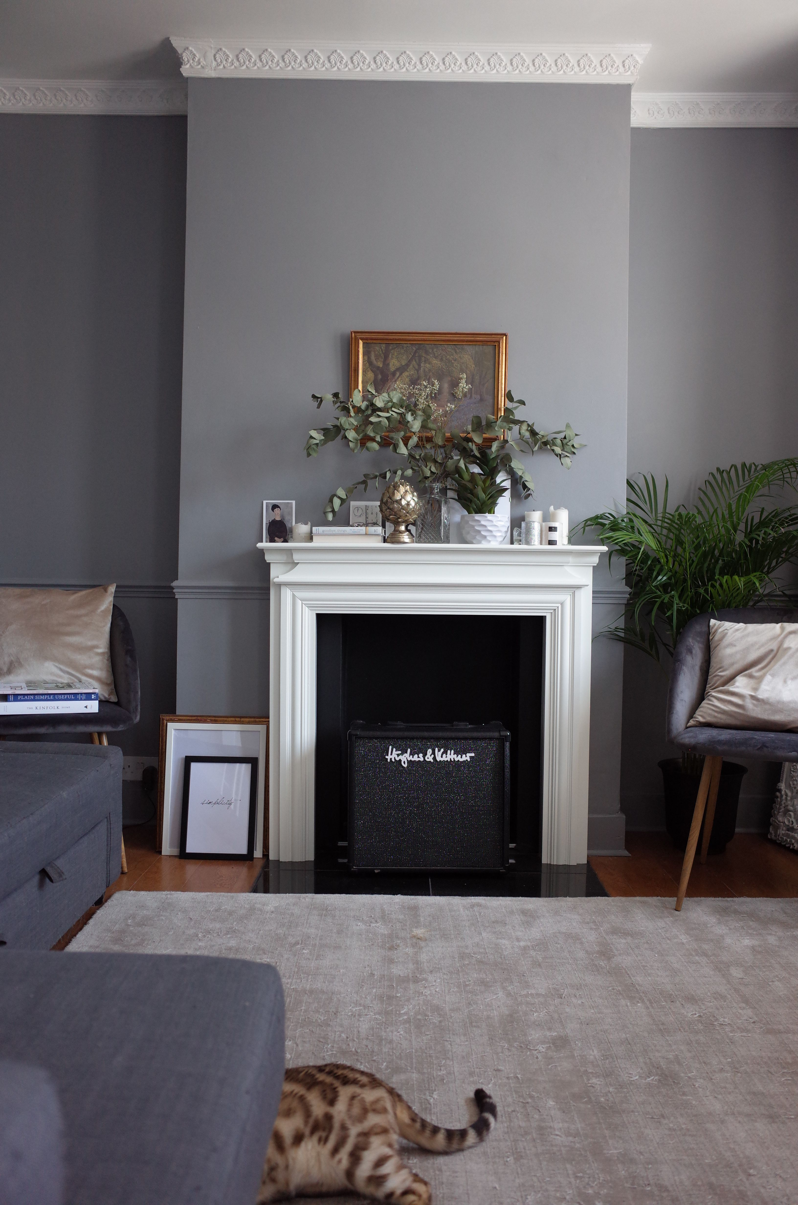 Grey living room victorian house cornice fireplace mantel