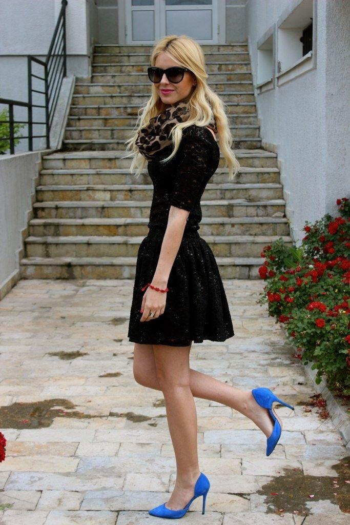 Black Dress Leopard Print Scarf Blue Dorsays Passion For