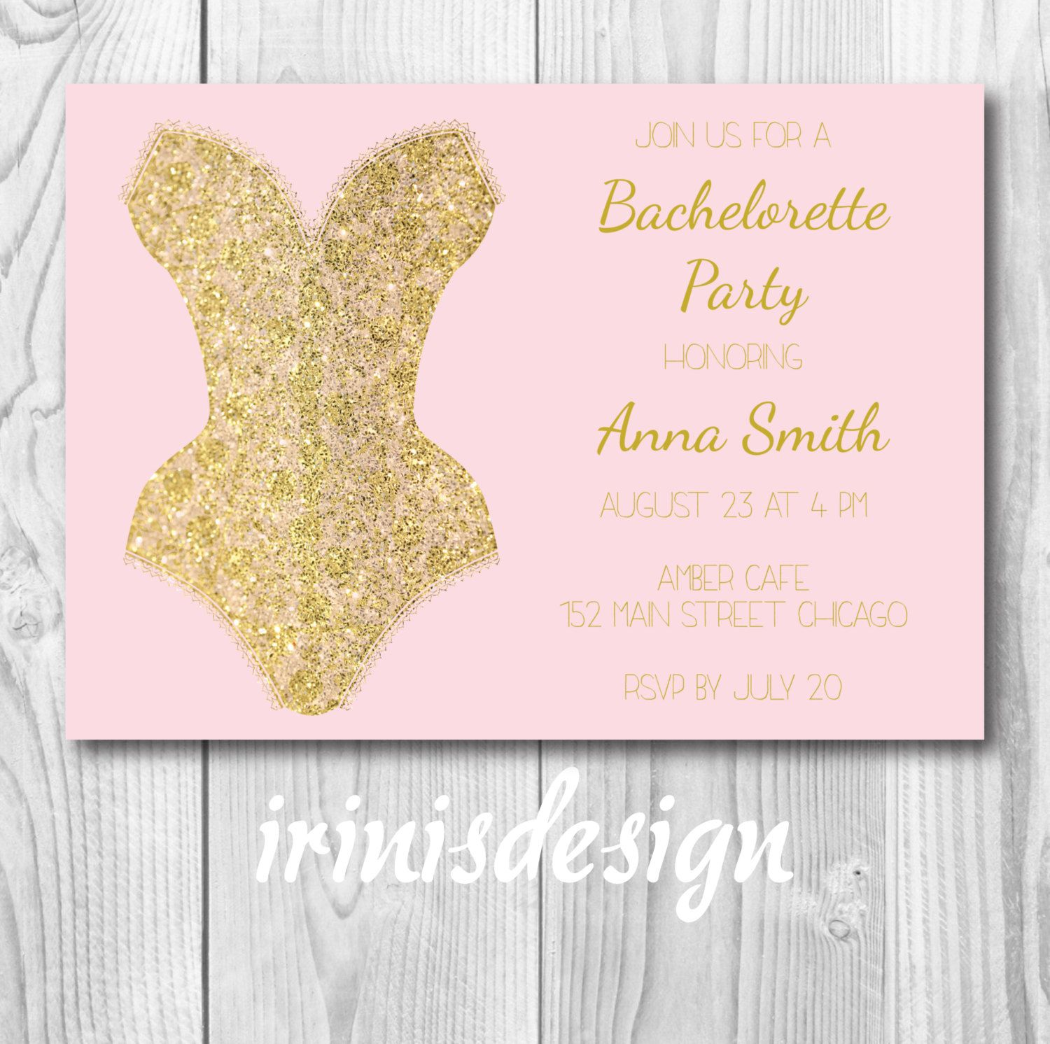 Lace glitter gold corset lingerie bachelorette party invitation