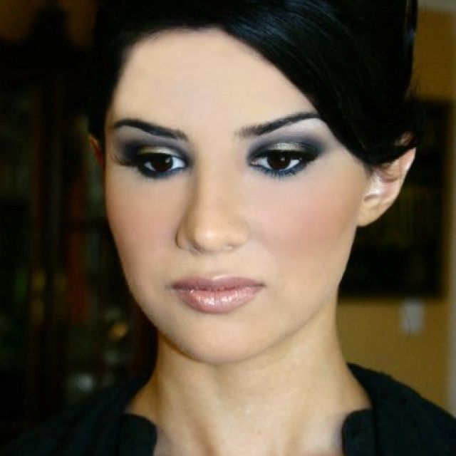 Dramatic Evening Wedding Look Silver Black Smoked Eyes