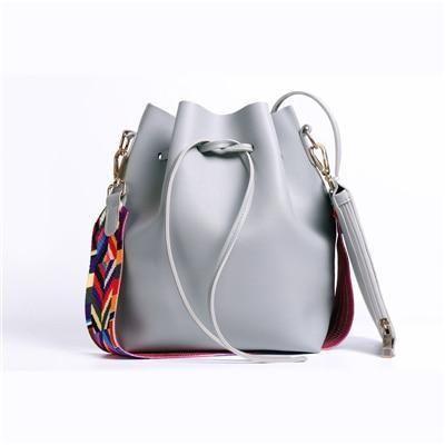 Women Designer Pu Leather Colorful Strap Bucket Shoulder Bag