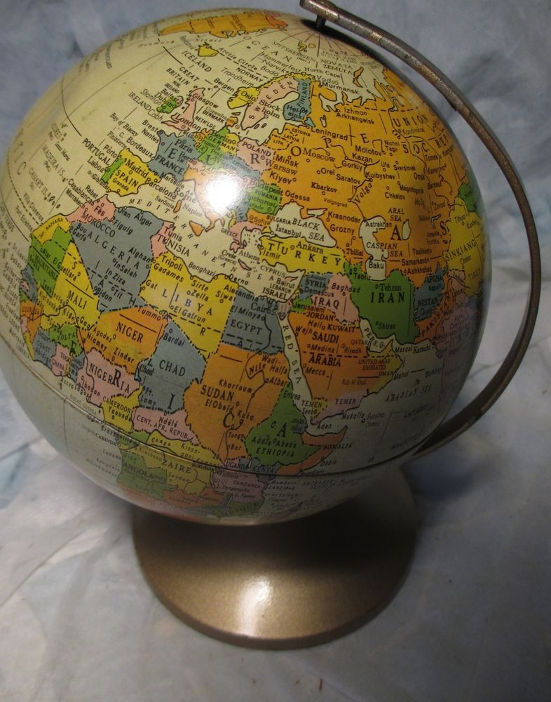 "Vintage Metal Replogle 6"" World Globe The Revere mid century map of"